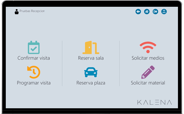 Kalena visitas pantalla inicio, reserva de espacios