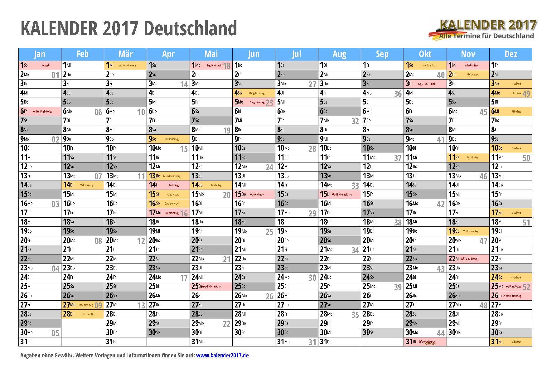 KALENDER 2017 zum Ausdrucken  PDFVorlagen