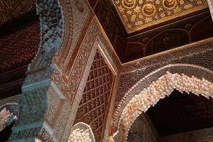 Marrakesh, Mond und Moschee hinter 'dem Platz'