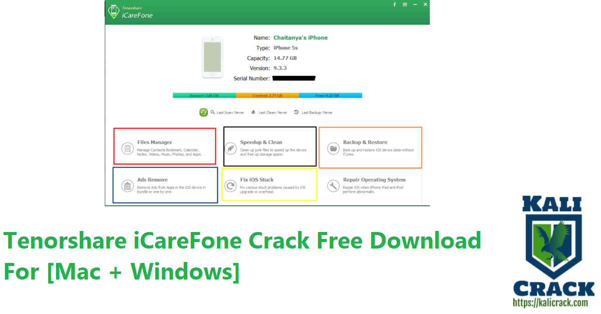 Tenorshare iCareFone Crack Free Download For [Mac + Windows]