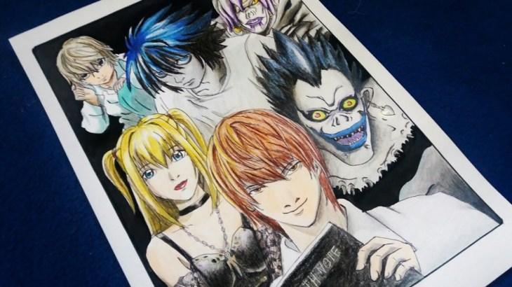 رسم سريع لشخصيات مذكرة الموت (L, Light, Misa, Ryuk,Rem,SPK  ) Fast drawing for death note characters − アフィリエイト動画まとめ
