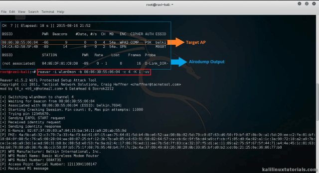Reaver + PixieWPS - Tool to Bruteforce the WPS of a WiFi Router