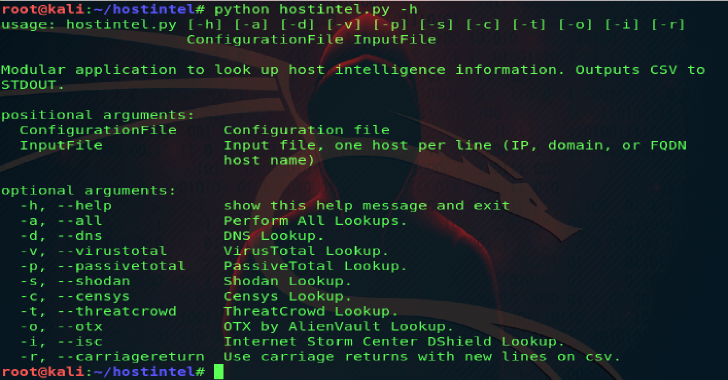 Hostintel : A Modular Python App to Collect Intelligence for