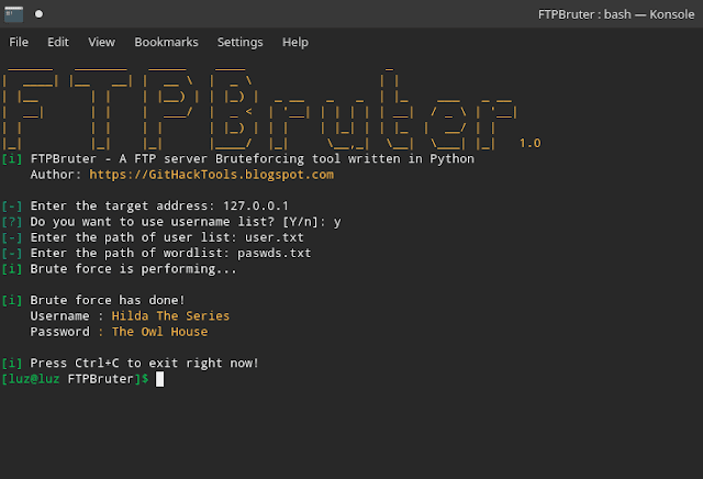 FTPBruter : A FTP Server Brute Forcing Tool Written In Python 3