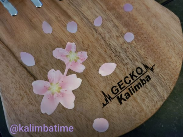 picture of cherry blossoms decals on kalimba