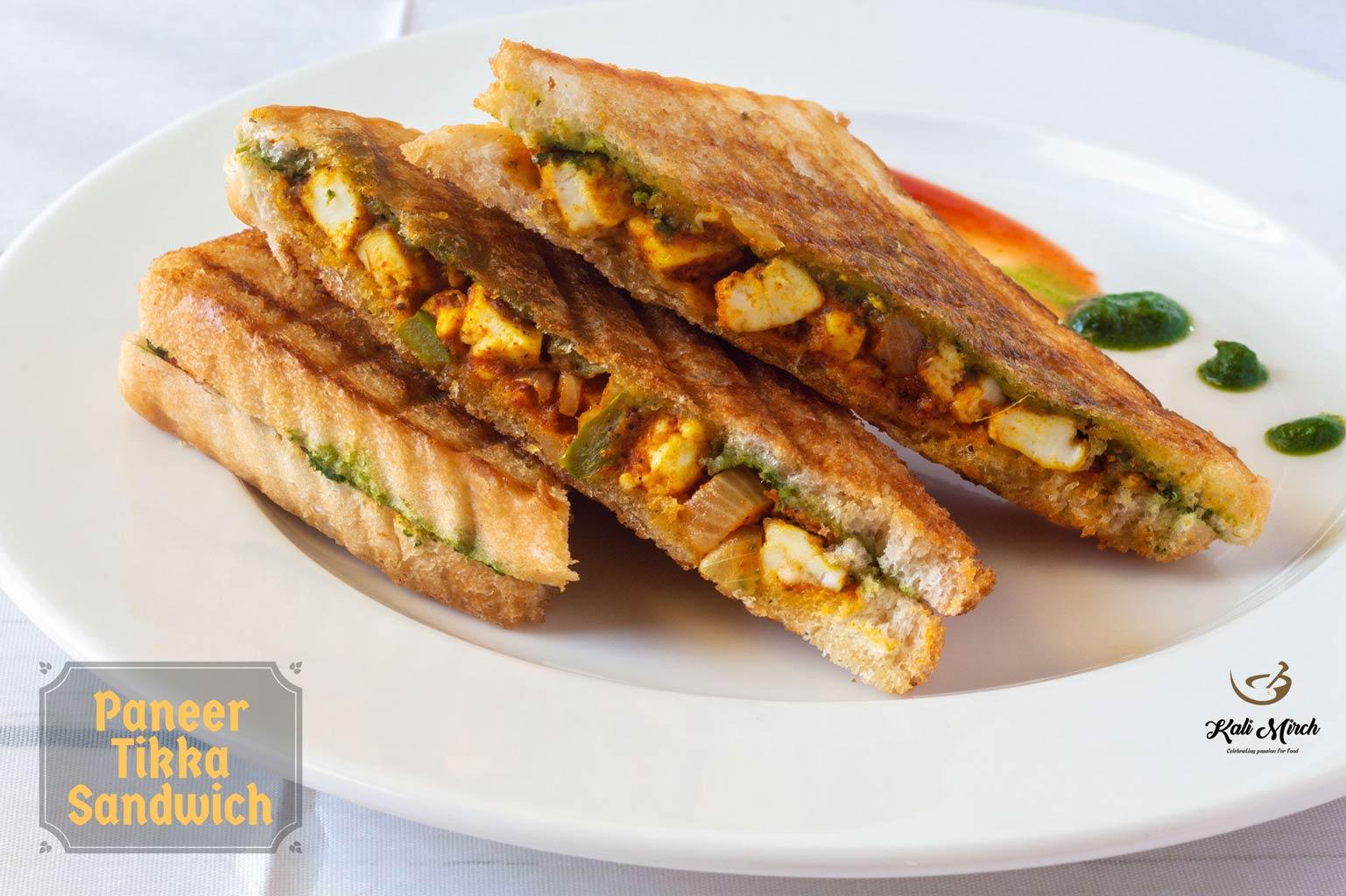 Paneer Tikka Grilled Sandwich Kali Mirch By Smita