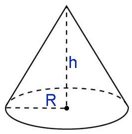 рассчитать объем конуса