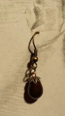 crystal pearl eggplant/brass wires $10