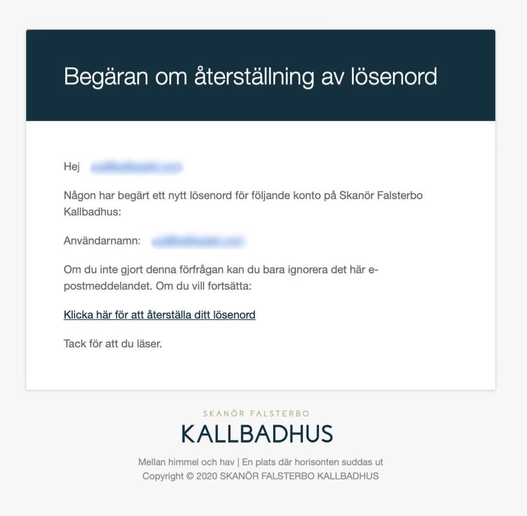 Glömt lösenord Skanör Falsterbo Kallbadhus