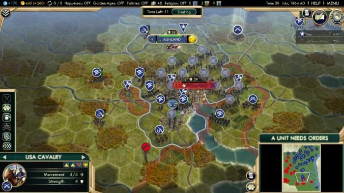 Civilization 5 Civil War Scenario Strategy Achievement Guide And Map - Map Of Us Before Civil War