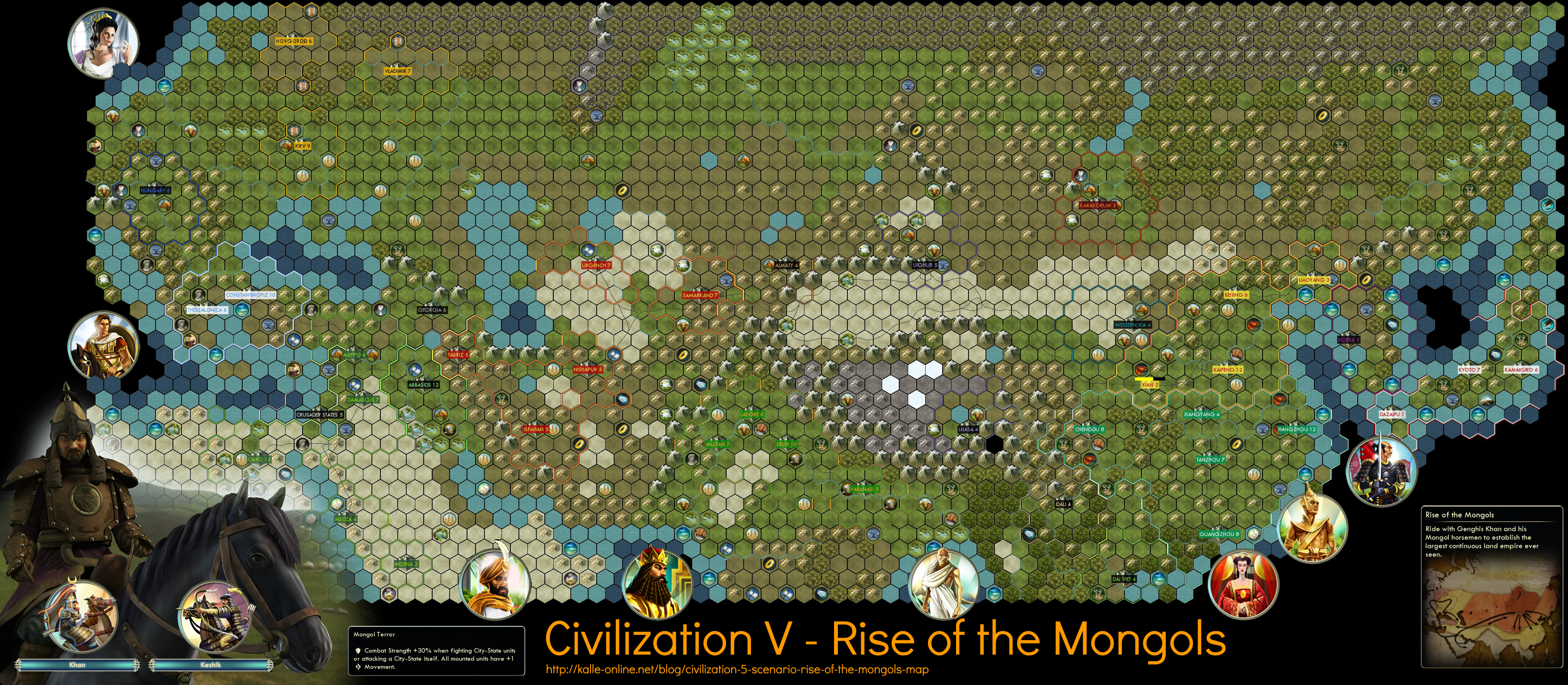 Civilization 5 Scenario Rise of the Mongols Map