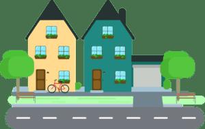 deux maisons sur un pâté de maisons