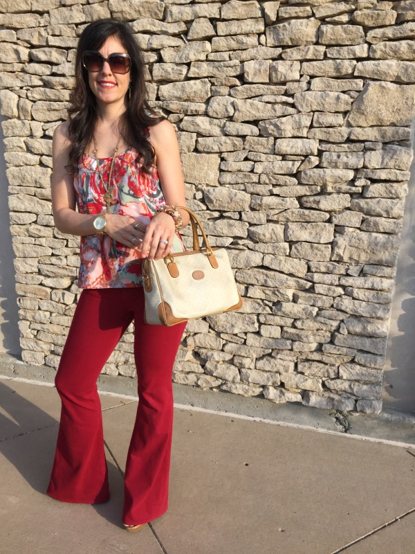 Red Flare Jeans | How to style flare jeans | How to style red jeans | Vintage Gucci | Red jeans outfit