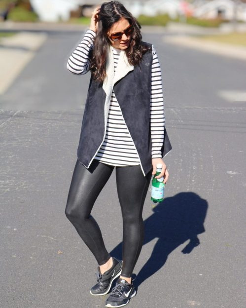 Athleisure | how to style vest | how to wear black faux leather leggings | fall and winter style | winter fashion | Spanx