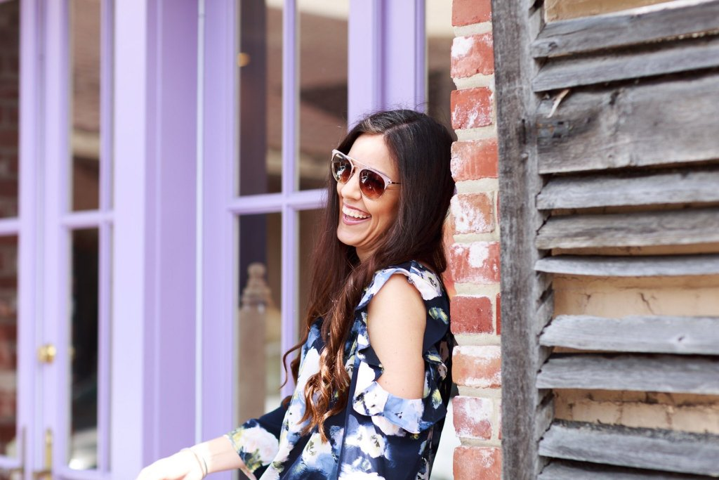 Spring Fashion, Spring Styling, Floral Top, How to style a floral top, floral top outfit, tips for styling a cold shoulder top, how to style a cold shoulder top