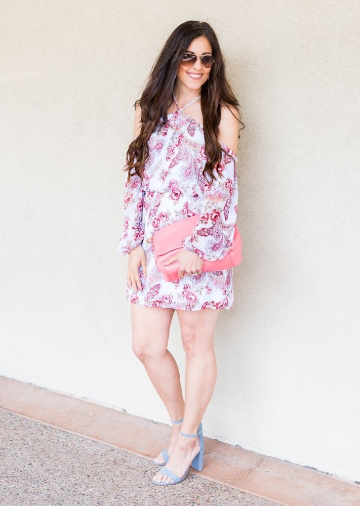 Easter outfit ideas, Easter dress, how to wear off the shoulder dress, deal of the week, Spring dress, Target heels, floral dress, white jeans