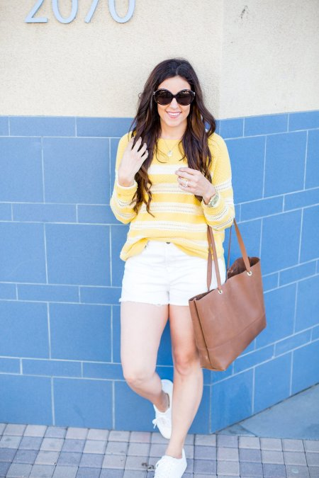 "Yellow is fall's ""it"" color. Cross-front tee, pom-pom scarf, how to wear bold colors, fall fashion tips, fall style ideas"