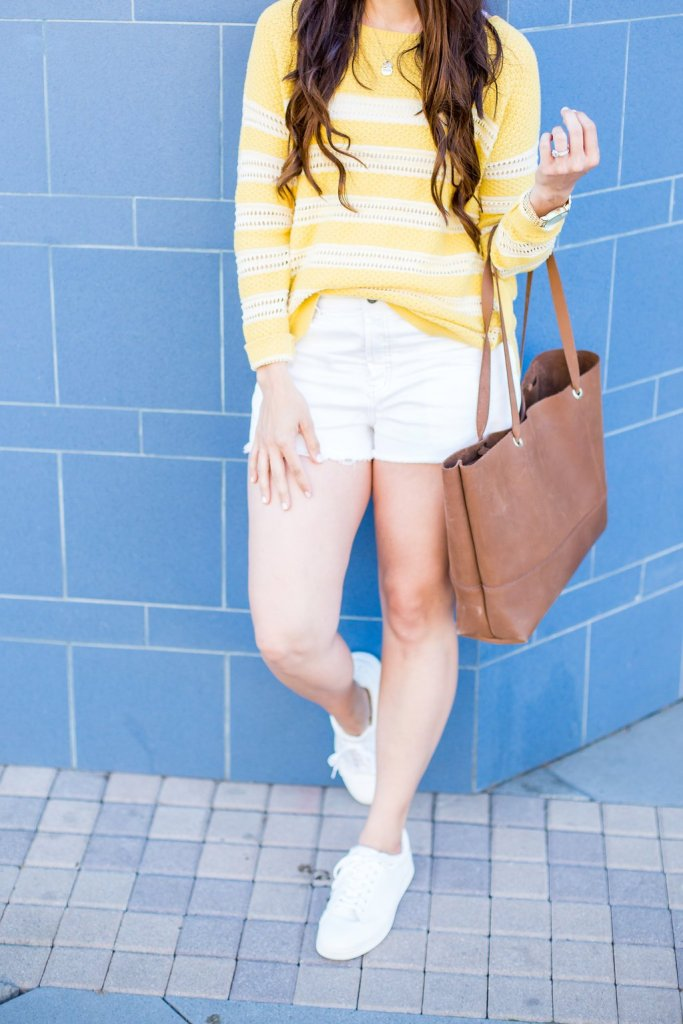 Spring Sweater, Sweater and Shorts, How to style a sweater for spring, spring styling tips, styling a sweater, tips for styling shorts