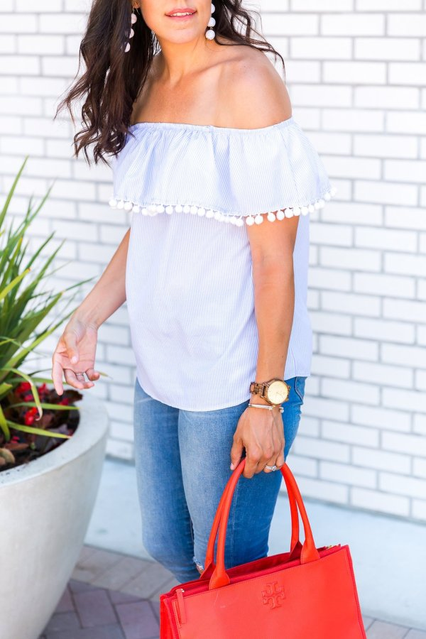 How to wear off the shoulder top, How to wear off the shoulder top, tips for wearing off the shoulder tops, 4th of July outfit, memorial day outfit