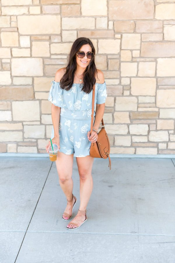 How to style a romper, romper outfit, blue romper outfit, tips for styling a romper, how to wear a romper, spring and summer fashion, summer outfit ideas