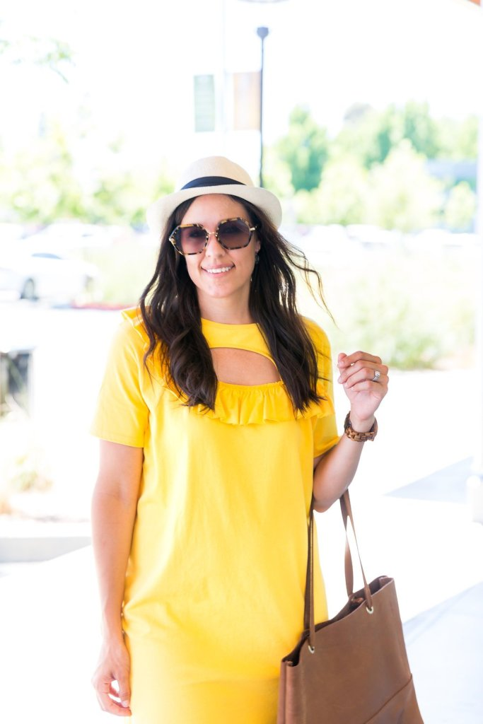 Four ways to style a t-shirt dress, Fedora, summer style ideas, summer fashion tips, cutout dress with ruffle, wearing sneakers with a t-shirt dress