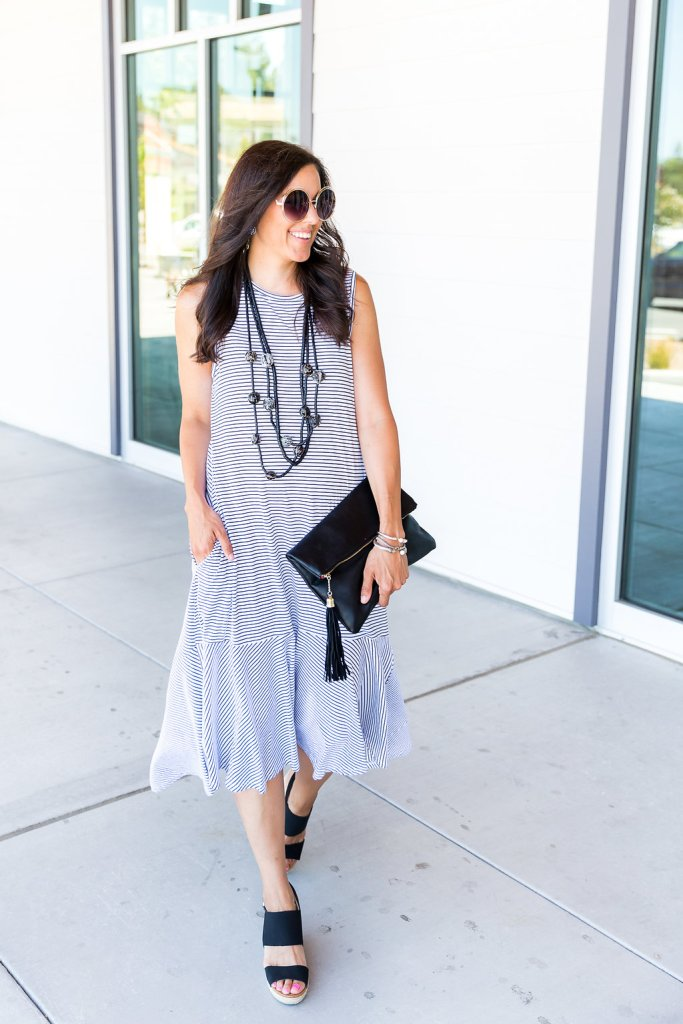 How to style a dress day to night, tips for wearing a midi dress, how to transition and outfit, day to night outfit, summer dress, stripe dress outfit