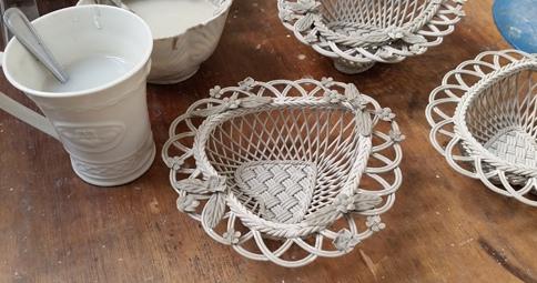 Belleek woven basket in progress