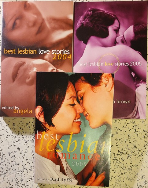 Covers of Best Love Stories 2004, 2005 and Best Lesbian Romance 2009