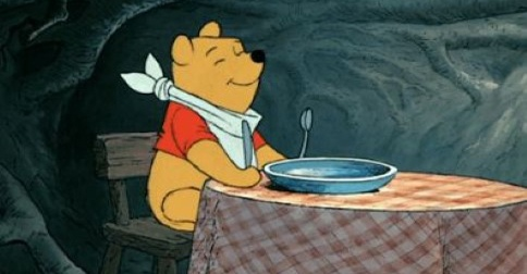 pooh wiggling for dinner
