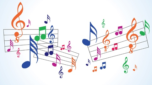 music staves with brightly color notes and signatures