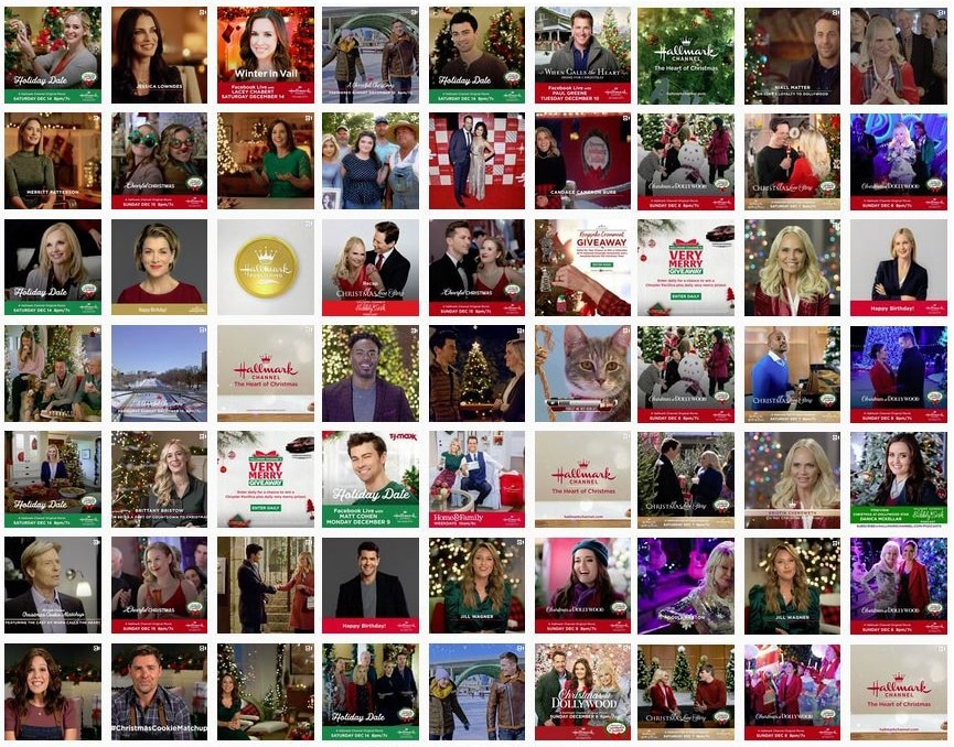 screenshot of Hallmark Channel Instagram first half December 2019