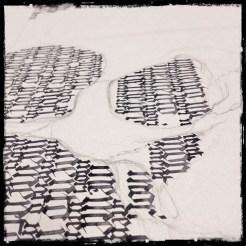 "in progress shot of Calligraphy ""Memento Mori"" – Collaboration with Guy Labo-O-Kult"