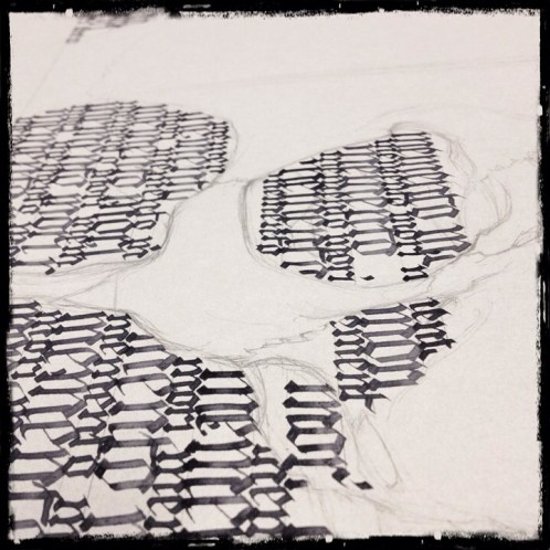 "in progress shot of Calligraphy ""Memento Mori"" – Collaboration with Guy Labo-O-Kult"