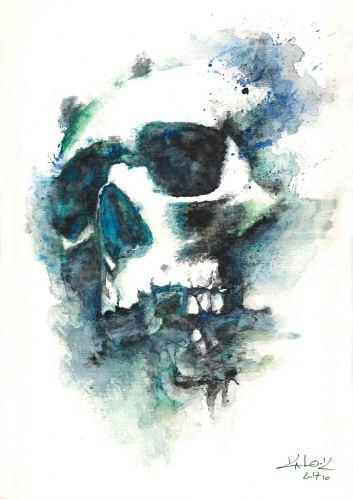 "Watercolor Painting ""Skull Blue"", Ka L-O-K"