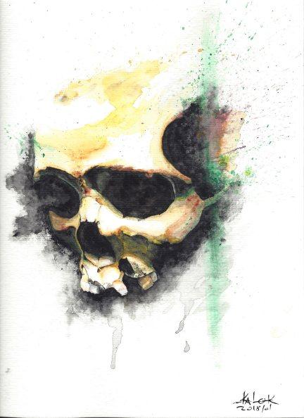 """Watercolor Painting """"Skull 201801"""", Ka L-O-K"""