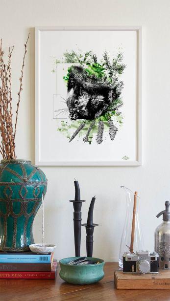 """Mock Up / Modèle encadré avec l'illustration """"Sciurus Vulgaris"""" de la série HelvEdition de Ka L-O-K   Graphic Arts"""