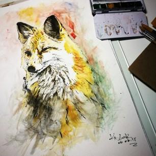 "Aquarelle on torchon paper ""The Fox"" - Ka L-O-K"
