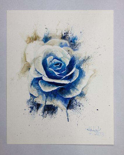 """""""Blue Rose"""" Aquarelle on torchon paper - Ka L-O-K"""