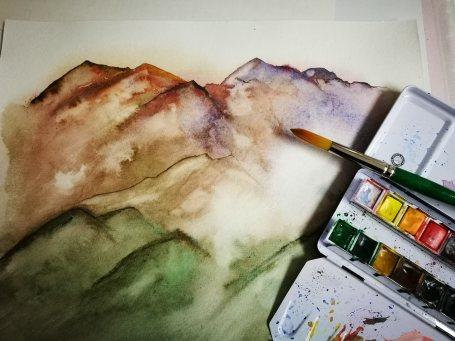 """Aquarelle sur papier torchon """"Montagnes en couleur"""" - Ka L-O-K"""
