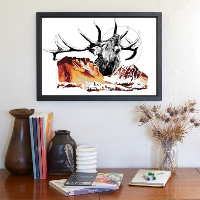 """Modèle avec l'illustration """"Cervus Elaphus"""" (Le Cerf) – de la série HelvEdition de Ka L-O-K   Graphic Arts"""