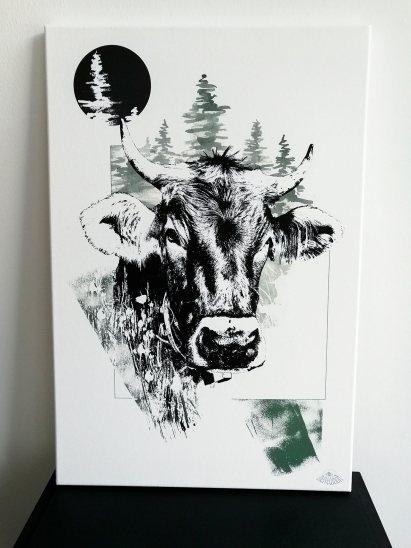 """Impression sur toile en série limitée de l'illustration """"Bos Taurus"""" (La Vache) – HelvEdition de Ka L-O-K   Graphic Arts"""