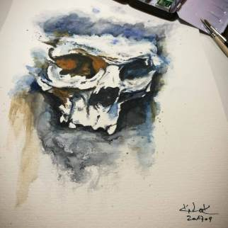 "Watercolor Painting ""Skull Montreux"", Ka L-O-K"