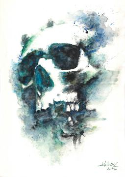 "Watercolor Painting ""Skull Blue"", Ka L-O-K"