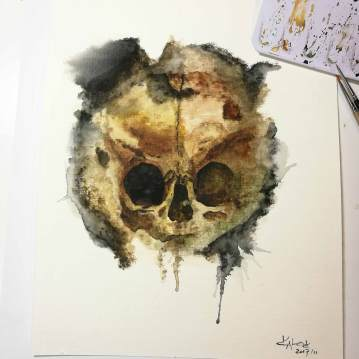 "Watercolor Painting ""Skull Sepia"", Ka L-O-K"