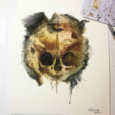 """Watercolor Painting """"Skull Sepia"""", Ka L-O-K"""