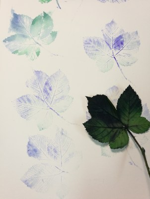 "Print and Watercolor, ""Feuilles"", Ka L-O-K"