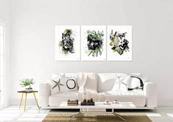 """Exemple d'un intérieur pure et naturel avec les tableaux """"Bubo Bubo"""", """"Sciurus Vulgaris"""" et """"Vulpes Vulpes""""– disponible en collection """"Forêt"""", Série limitée en impression sur toile."""