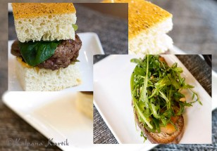 Mini burger and the savory fried Foie Gras served on toasted brown bread