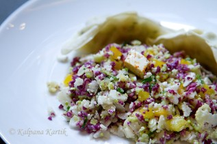 Taboule with violet couliflower
